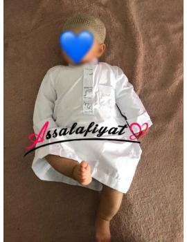 Qamis bébé / Qamis enfant blanc à col Ajyad